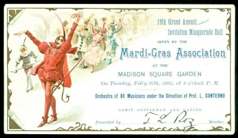Invitation 19th Grand Masquerade Ball Mardi-Gras Assn1895 Madison Square Garden