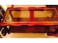Dark wood & glass coffee table