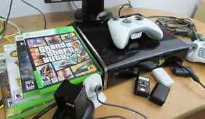 Xbox 360 Slim with 2 controllers, 4 games & more!