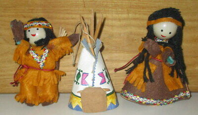 3 VINTAGE HANDMADE NATIVE AMERICAN DOLLS & TENT HANGING ORNAMENTS