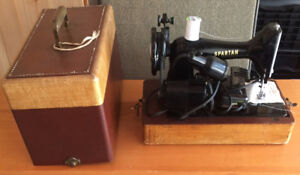 VINTAGE SPARTAN SEWING MACHINE WITH CASE WORKING $75.00