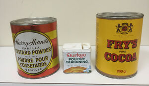 Vintage cans Custard, Cocoa and Poultry Seasoning