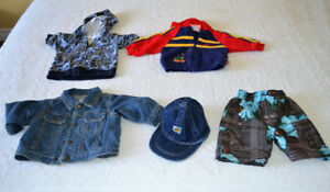 Size 3 - 6 mo hoodies and jean jacket and swim trunks