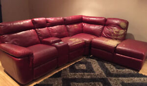 Red sectional reclining sofa couch