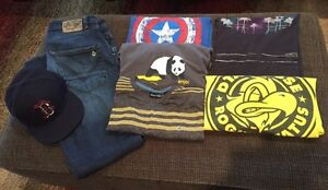 Men's Volcom jeans, Boston hat and large shirts