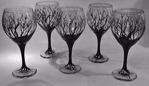 """""""Black Forest"""" Hand-Painted Glassware"""