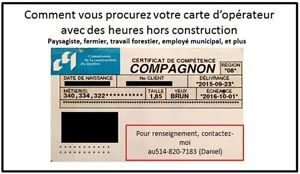 Obtenir carte de construction a la CCQ OPERATEUR De machinerie