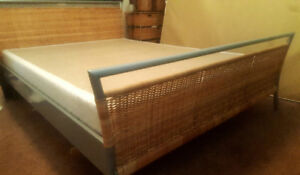Queen wicker bed frame and nightside drawer and lamp