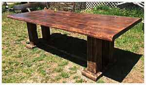 Large 8' live edge reclaimed barnwood harvest table 50% off Sale
