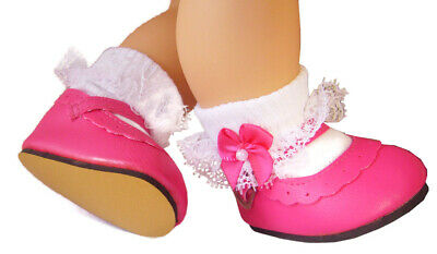 Hot Pink Shoes + Satin Bow Socks for Bitty Baby Doll Clothes High Quality Satin Bow Socks