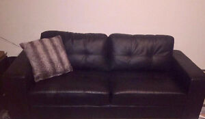 Black Leather Couch - OBO