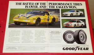 1987 GOODYEAR TIRES RACING AD - CORVETTE PORSCHE 944 / CHARGER