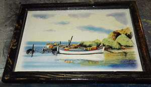 Cottage Art - Fishing dorys in a calm cove