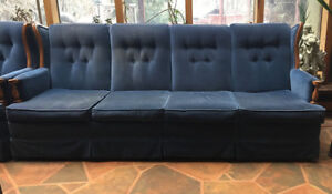 Vintage Blue Velvet 4-seat couch and Chair