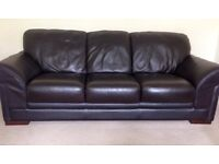 Brown Leather 3-seater Sofa
