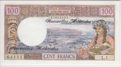 NEW HEBRIDES BANKNOTE P18d, 100 FRANCS SIG 3, UNC