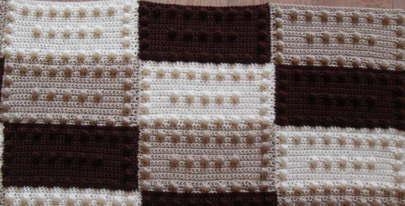 Blocks Practice Puff Stitch Blanket