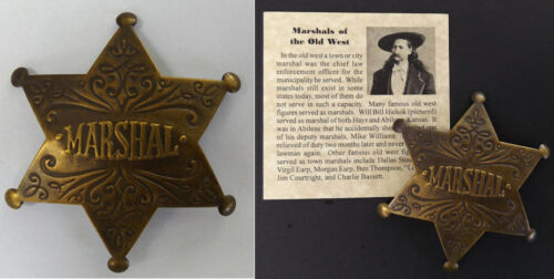 Marshal Badge, antiqued brass, old west, western, Wild Bill Hickok, city, town