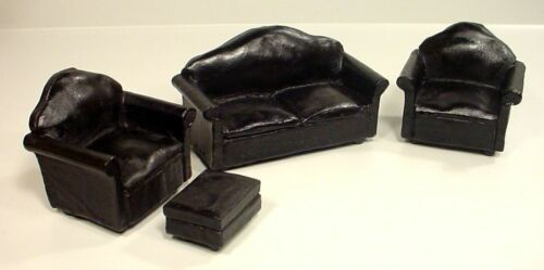 Black Leather Miniature Couch Set (4 Pc) - Couch 2 Chairs Ottoman 1/24 Scale G