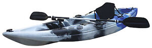 Fishing Kayak Sit-on Kayak with 5 Rod Holders Padded Seat & Paddle (Blue Camo)