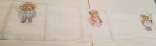 Kidsline Twinkle Toes White Valance Pink & Blue Embroidered Teddy Bears 13.5x88