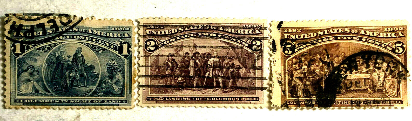 1893 Columbian Exposition Stamp Issue 1c, 2c, 5c Scott Catalog 230 231 234 - $0.99