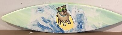 4ft PAINTED WOOD SURF SURFBOARD PUG FRENCHIE BULL DOG SURF BOARD WALL ART DECOR -