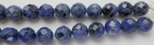 """16"""" Strand 40 Blue Sodalite Gemstone Fancy Faceted Round Beads 10x10mm New"""