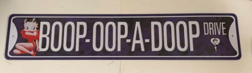 "Betty Boop Tin Sign - BOOP-OOP-A-DOOP DRIVE Street Style Tin Sign 24"" x 5"""