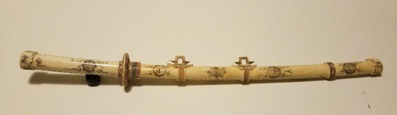 Japanese Carved Samurai Sword- Scrimshaw Art