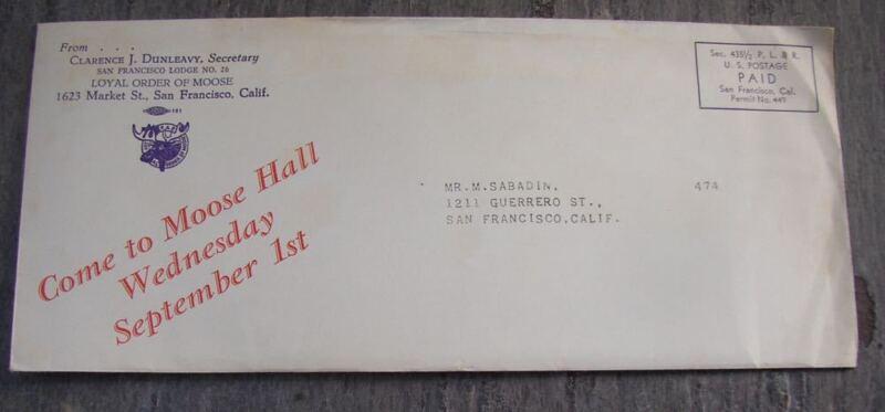 Loyal Order of Moose San Francisco Lodge No 26 Letter Information