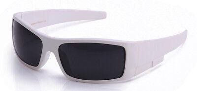 Dark Lens Sunglasses White Frame Gangster OG Biker Glasses Sport UV Protection