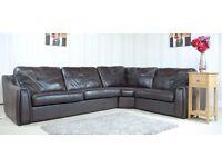 Designer Dark Brown Leather 3 piece corner (44) £899