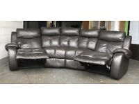 Brown leather curved corner recliner sofa can deliver