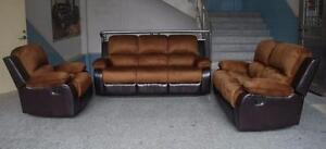 NEW 3 PCS FURNITURE LIVING ROOM COUCH SET MICRO FIBER BED SET LOVE SEAT RECLINER COMBO