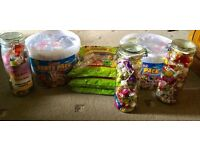 Lots of sweets and jars for sale