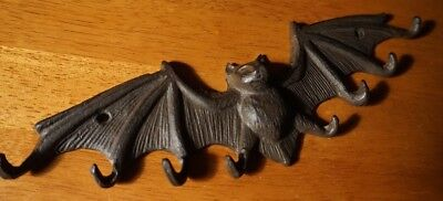Rustic Cast Iron Bat Wings w/ 8 Hanging Hooks Halloween Haunted House Decor NEW