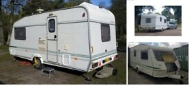 Elddis Hurricane EX300 2 Birth (1996) + starter pack +full & porch awnings 4 summer & winter season