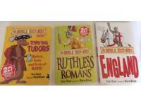 Set of 3 'Horrible Histories' books - 'England', 'Ruthless Romans' and 'Terrifying Tudors'.