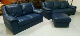 Good quality Leather 3 & 2 & pouffee all in fantastic condition can deliver 07808222995