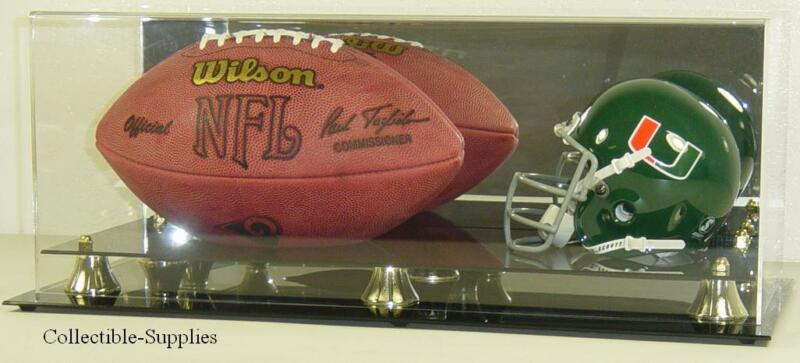 DELUXE MINI HELMET AND FULL SIZE FOOTBALL DISPLAY CASE