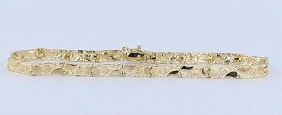 "New Solid 10K Yellow Gold 7"" Nugget Style Link Bracelet 5.9 grams 4 mm"
