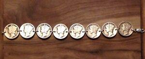 MERCURY DIME Coin Jewelry BRACELET 7.5