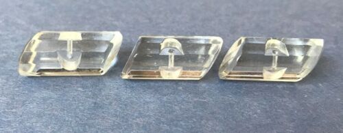 """3 VINTAGE CLEAR GLASS FACETED CRYSTAL LOG SHAPE TOGGLE BUTTONS 1"""" LONG"""