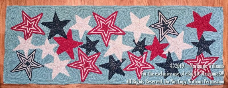 """NEW FOURTH OF JULY 36"""" BEADED TABLE BUFFET RUNNER PATRIOTIC RED WHITE BLUE STARS"""