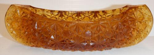 "Vintage  Amber Glass Canoe Daisy & Button Design 5-1/4"" L  Fenton?  EAPG Trinket"