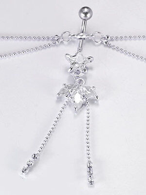 9mm Star with Flower Drop Charm Belly Button Ring with 4 3D Stars Belly CHAIN