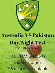 1/2 price Australia v Pakistan -TheGabba 1st day test match Warriewood Pittwater Area Preview