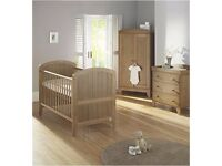 3 piece nursery furniture set -oak finish,lollipop lane wardrobe,drawers, cotbed