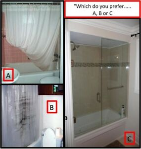 "SAY ""GOOD-BYE"" TO THE SHOWER CURTAIN AND ""HELLO"" TO GLASS!!!"